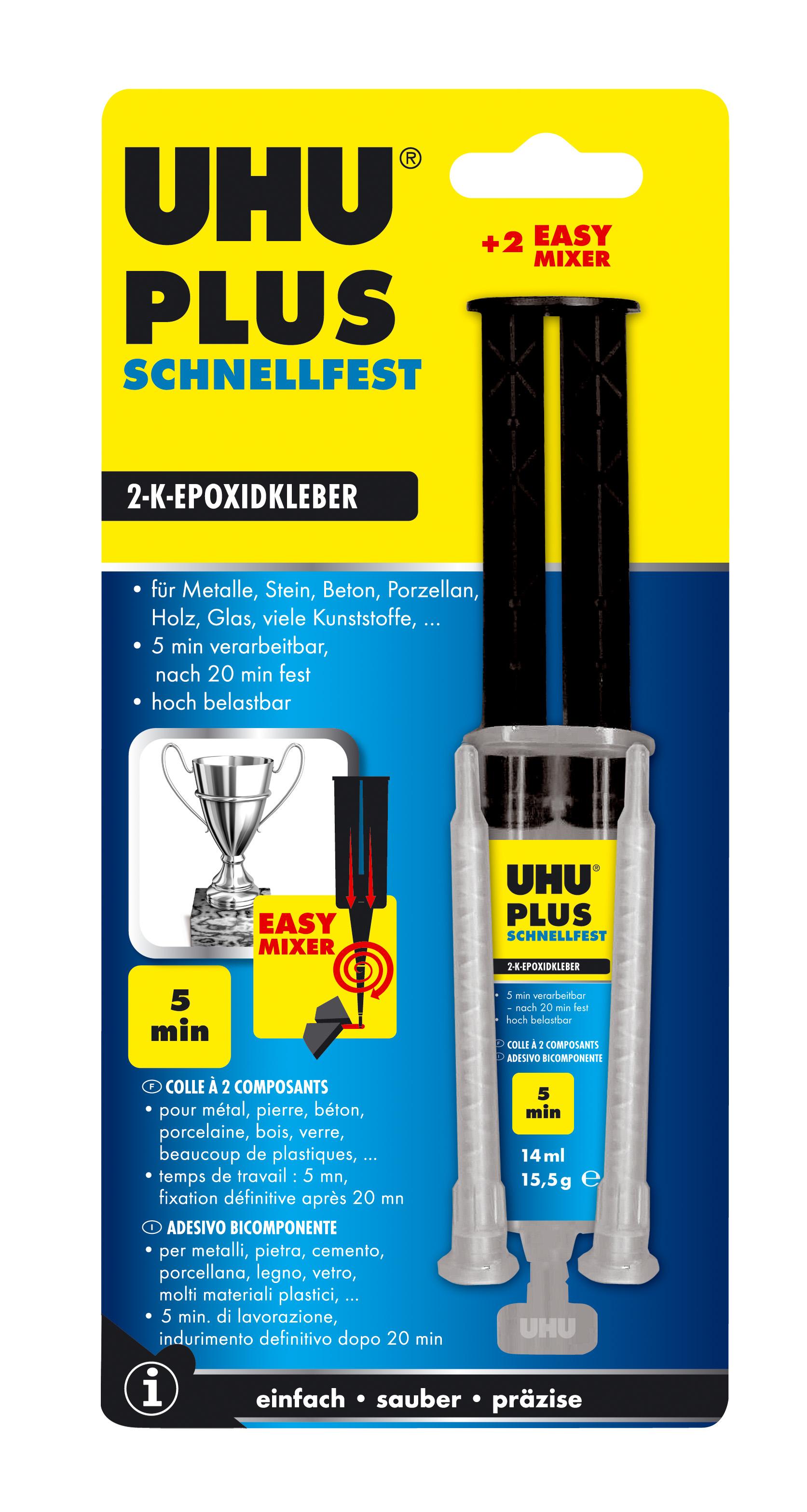 UHU plus schnellfest 2-Komponenten-Epoxidharzkleber, 5 Minuten, transparent Doppelkammerspritze 15,5