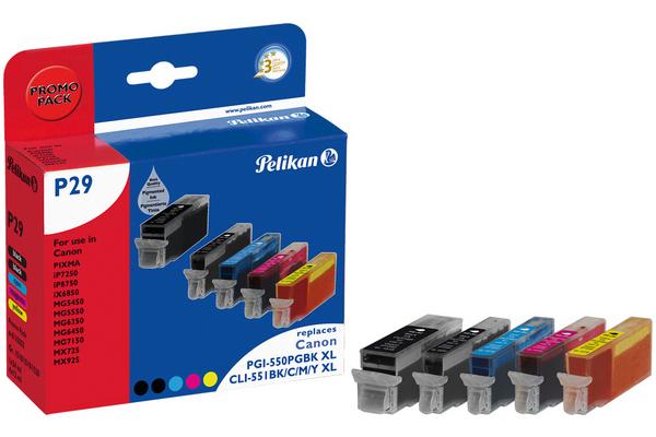 Pelikan PromoPack P29 komp. zu PGI-550Bk CLI-551BKCMY XL Canon Pixma iP7250 etc.