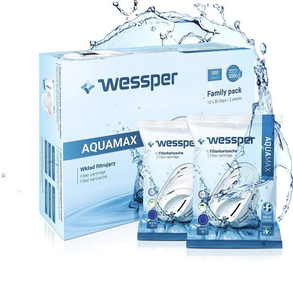 Wessper 12er Pack Aquamax Wasserfilter Kartuschen komp. mit BRITA Maxtra, AmazonBasics WES003