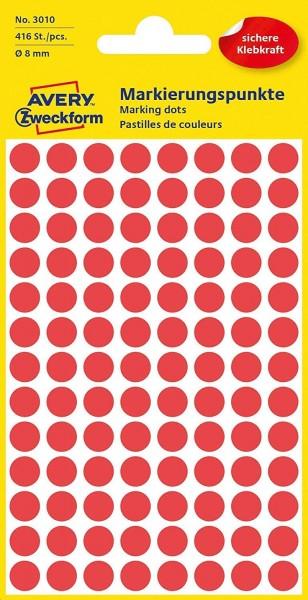 AVERY Zweckform 3010 selbstklebende Markierungspunkte 416 Stück (Ø 8mm, Klebepunkte auf 4 Bogen, Pun