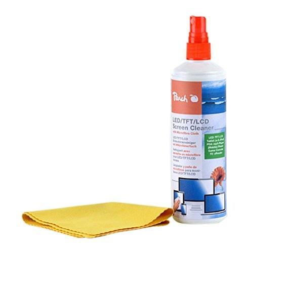Peach PA104 Bildschirmreinigungsspray | Reinigungsspray + Mikrofasertuch | 250 ml | wirkt antistatis