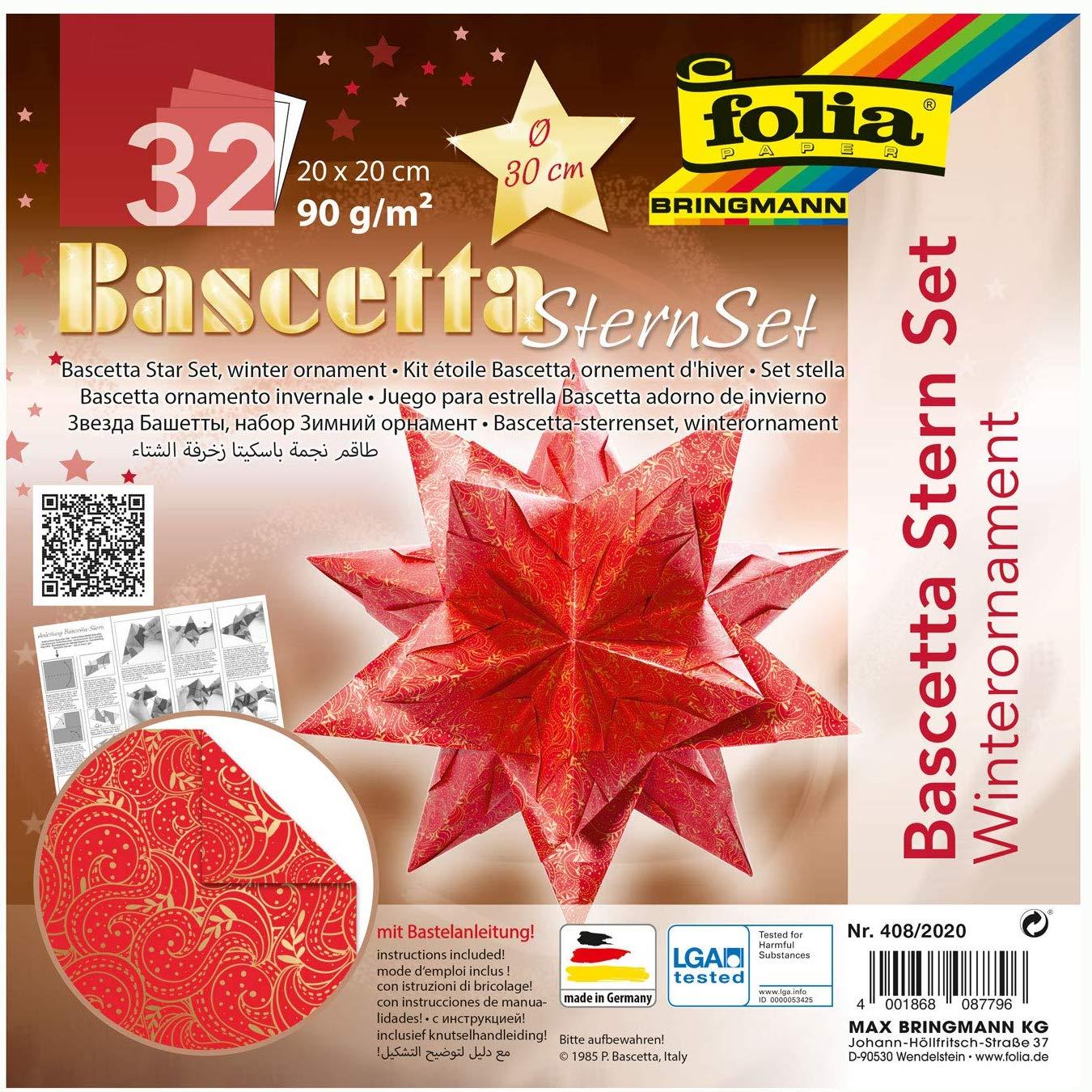 folia 408/2020 - Bastelset Bascetta Stern Winterornament rot/gold, 32 Blatt, 20 x 20 cm, fertige Grö