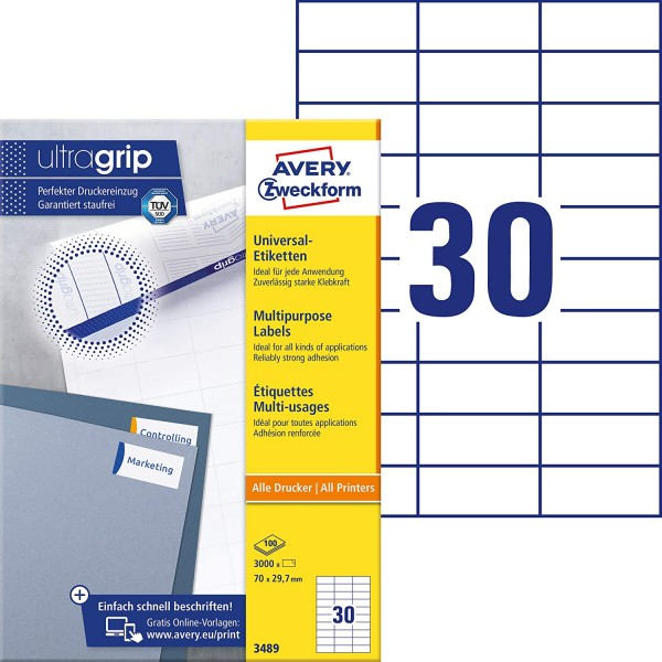 AVERY Zweckform 3489 Universal Etiketten (3.000 Klebeetiketten, 70x29,7mm auf A4, Papier matt, indiv