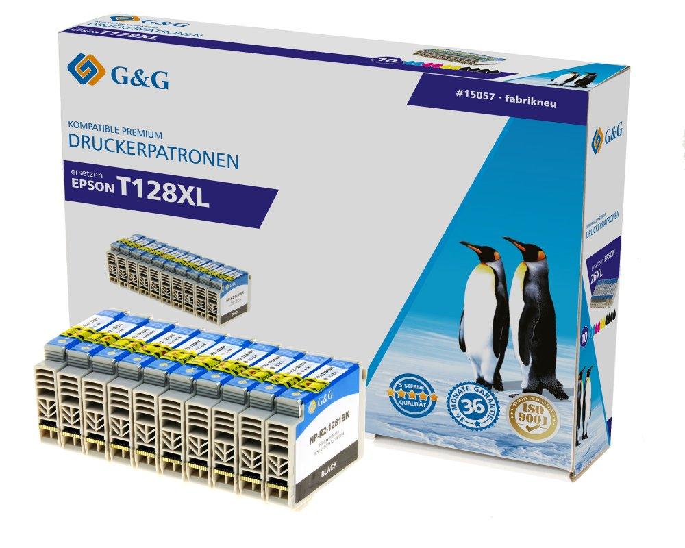 G&G Tinte ersetzt Epson T1281, T1282, T1283, T1284, T1285 Kompatibel 10er-Pack Schwarz, Cyan, Magent