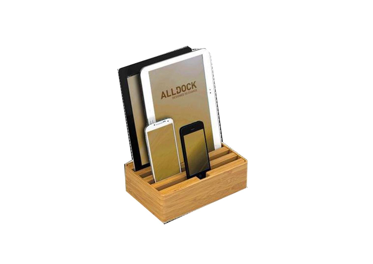 Ladestation ALLDOCK BAMBOO 2.0 4-fach USB