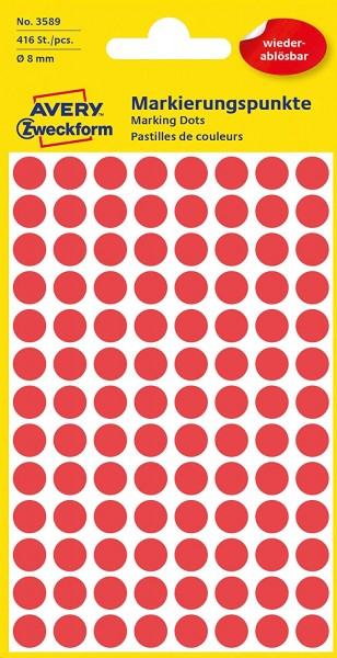 AVERY Zweckform 3589 selbstklebende Markierungspunkte (Ø 8 mm, 416 ablösbare Klebepunkte auf 4 Bogen