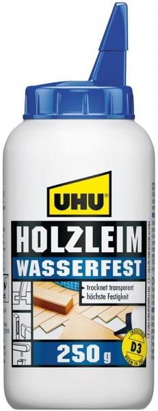 UHU Holzleim Wasserfest Flasche, Universeller und wasserfester Weißleim - geeignet für alle üblichen