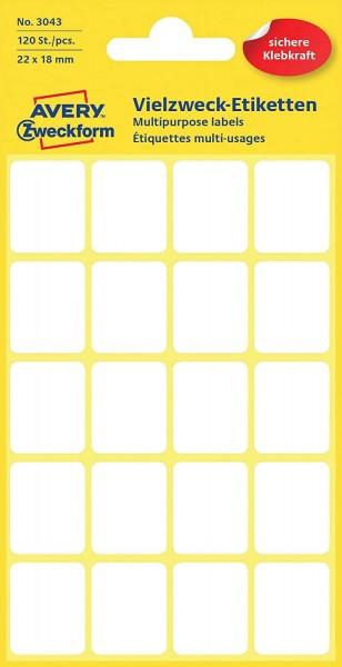 Avery Zweckform 3043 Haushaltsetiketten selbstklebend (22 x 18 mm, 120 Aufkleber auf 6 Bogen, Vielzw