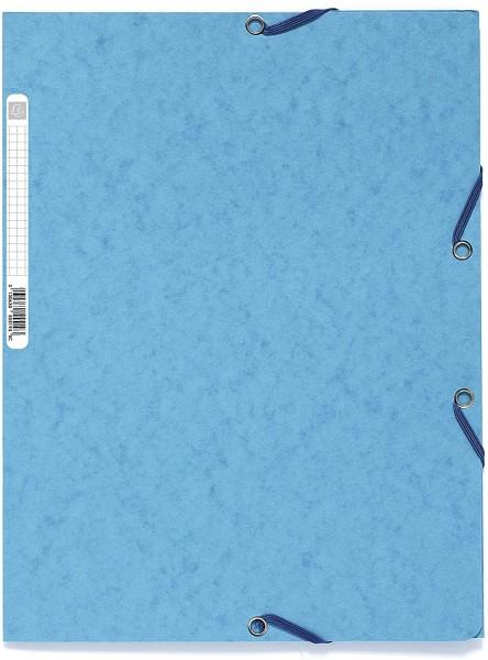 Exacompta 55500E Sammelmappe (Manila-Karton, Gummizug, 3 Klappen 400g, DIN A4) Hellblau