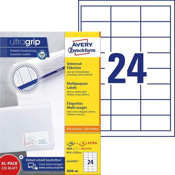 AVERY Zweckform 3658-200 Adressaufkleber (4.800 plus 480 Klebeetiketten extra, 64,6x33,8mm auf A4, b