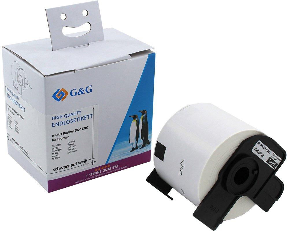 G&G Schriftband ersetzt Brother DK11202 (300m auf 62mm x 100mm) schwarz auf weiß
