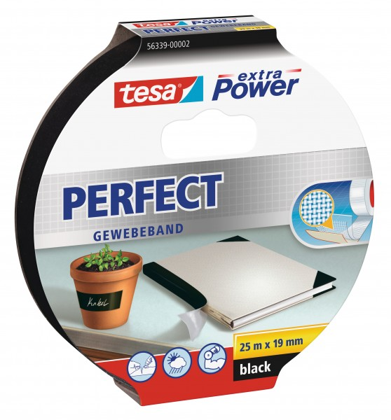 GP: 0,49 EUR/m tesa extra Power Perfect Gewebeband schwarz 25m x 19mm