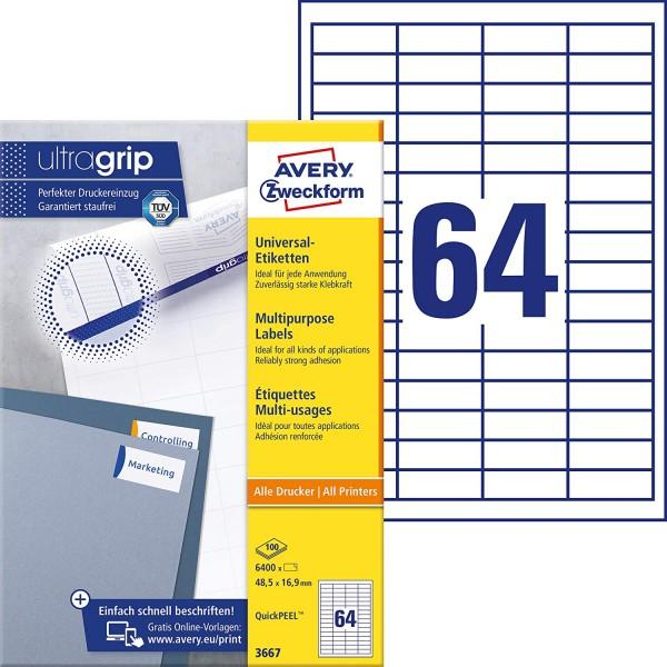 AVERY Zweckform 3667 Universal Etiketten (6.400 Klebeetiketten, 48,5x16,9mm auf A4, Papier matt, ind
