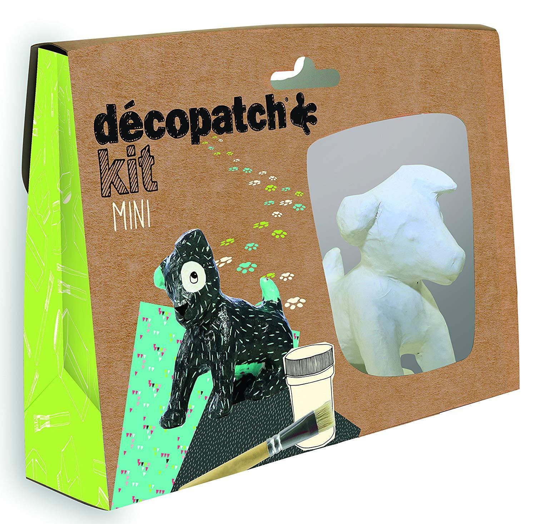 Décopatch Bastel Set Pappmaché Mini Hund (ideal für Kinder, 19 x 13,5 x 3,5 cm) grün, schwarz