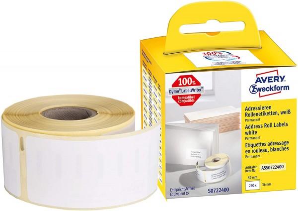 AVERY Zweckform ASS0722400 Adressetiketten selbstklebend, 260 Aufkleber (36 x 89 mm, Kompatibel mit