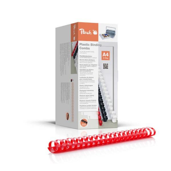 Peach PB438-03 Binderücken, Plastikbindung, DIN A4, Bindekapazität 375 Seiten, 50 Stück Rot