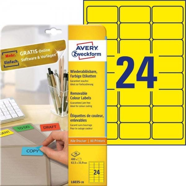 AVERY Zweckform L6035-20 Gelbe Etiketten (480 Aufkleber, 63,5x33,9mm auf A4, wieder rückstandsfrei a