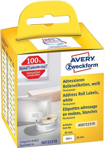 AVERY Zweckform AS0722370 Adressetiketten selbstklebend, 130 Aufkleber (28 x 89 mm, Kompatibel mit D