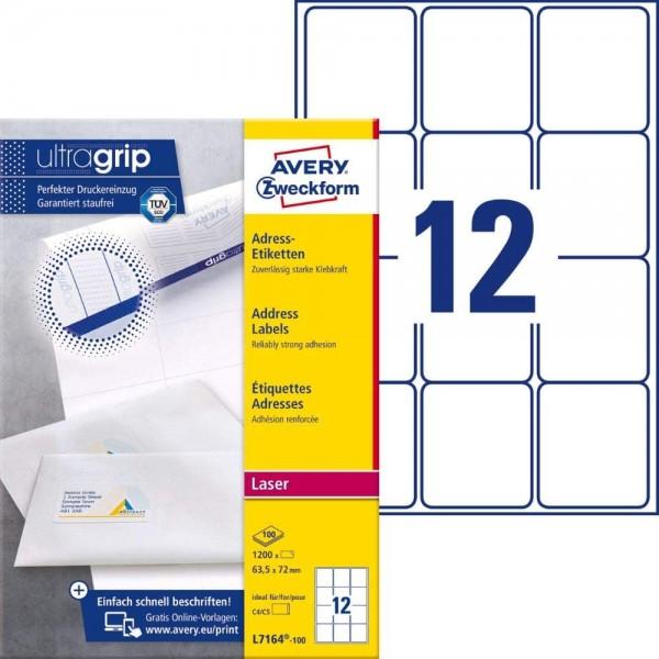 AVERY Zweckform L7164-100 Adressetiketten/Adressaufkleber (1.200 Etiketten mit ultragrip, 63,5x72mm