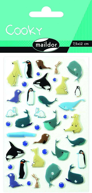 Maildor CY061O POLARTIERE Packung mit Stickers Cooky 3D (1 Bogen, 7,5 x 12 cm, ideal zum Dekorieren,