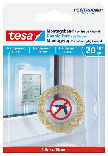 tesa Montageband transparent, Glas, 20 kg 1,5 m x 19 mm
