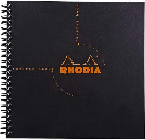 Rhodia 193609C Reverse Book (mit Spiralbindung, kariert, quadratisch, 21 x 21 cm, 80 Blatt) 1 Stück