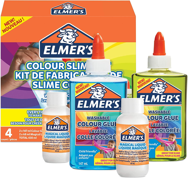 Elmer's Colour Slime Kit | Zubehör für Schleim enthält transparenten, farbigen PVA-Kleber | farblich