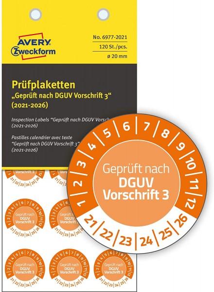 AVERY Zweckform 120 Stück Prüfplaketten 2021-2026 nach DGUV Vorschrift (fälschungssicher, selbstkleb