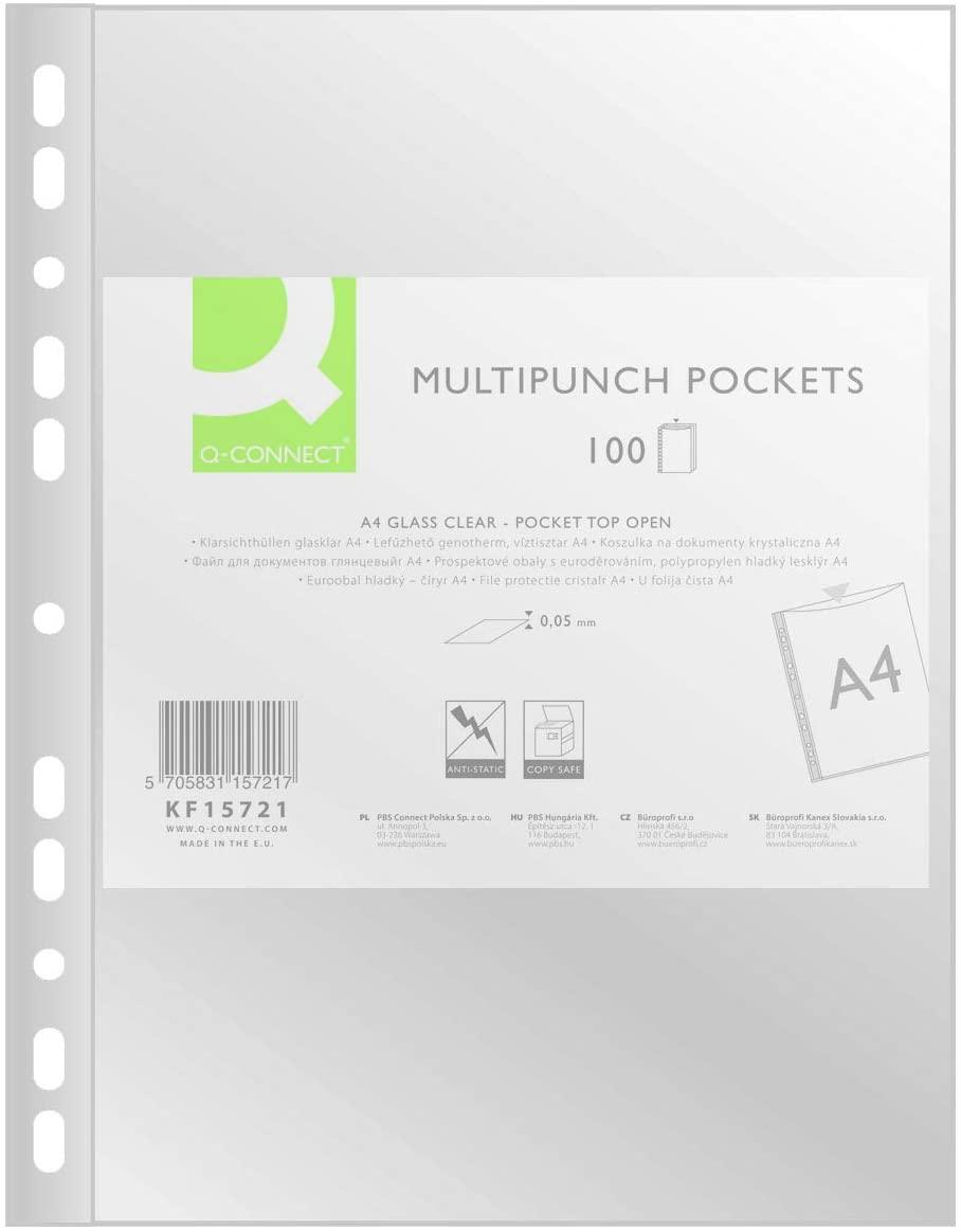 Q-Connect® Prospekthüllen Standard - glasklar, 0,05 mm, A4, 100 Stück