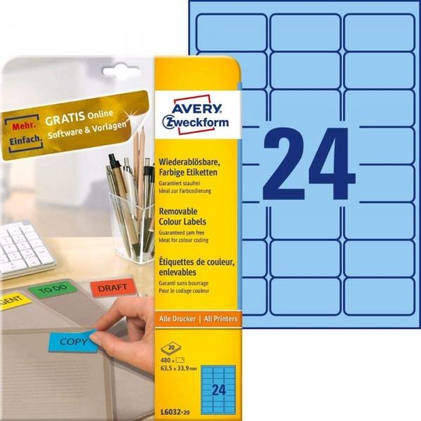 AVERY Zweckform L6032-20 Blaue Etiketten (480 Aufkleber, 63,5x33,9mm auf A4, wieder rückstandsfrei a