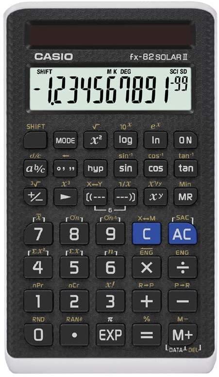 Casio FX-82SOLARII, Standard Schulrechner,144 integrierte Funktionen, LCD-Anzeige, Solarbetrieb