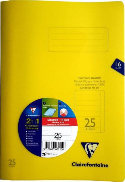 Clairefontaine Schulheft Kar 26, A4, 16 Blatt, fester, transparenter PP-Einband #303226C
