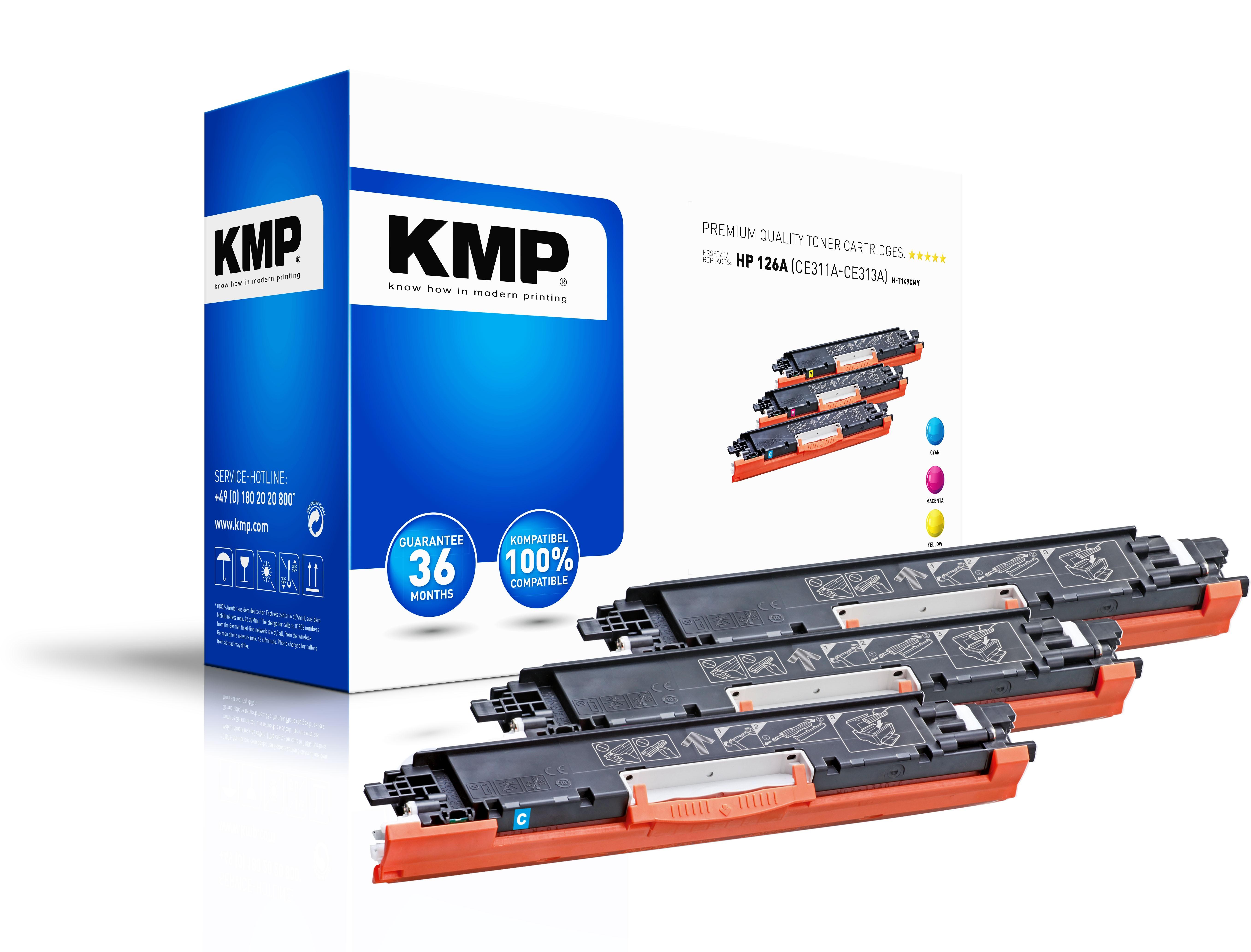 KMP Mulitpack Toner H-T149CMY für HP 126A (CE311A, CE313A, CE312A) LaserJet Pro CP1025 etc. cyan, ma