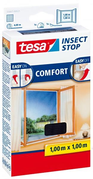 tesa Fliegengitter Comfort Klettband für Fenster 1,0 m : 1,0 m, anthrazit