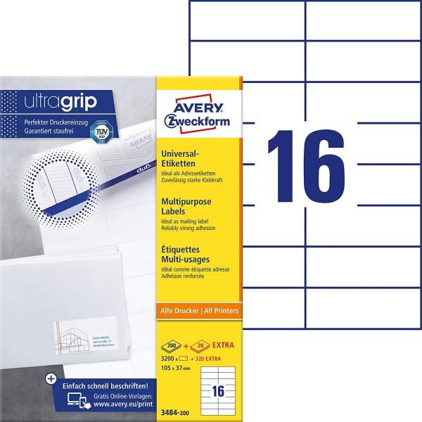 AVERY Zweckform 3484-200 Adressaufkleber (3.200 plus 320 Klebeetiketten extra, 105x37mm auf A4, bedr