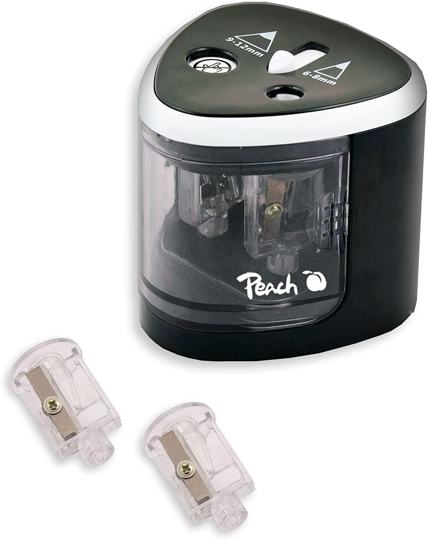 Peach PO102 elektrischer universal Anspitzer   inkl. Ersatzteile   für alle Bleistifte, Buntstifte,