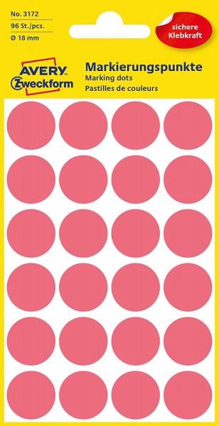 AVERY Zweckform 3172 selbstklebende Markierungspunkte (Ø 18 mm, 96 Klebepunkte auf 4 Bogen, runde Au