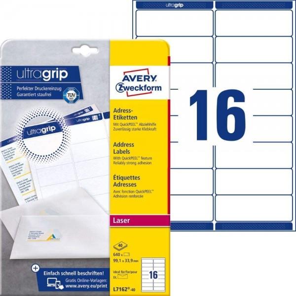 AVERY Zweckform L7162-40 Adressetiketten/Adressaufkleber (640 Etiketten mit ultragrip, 99,1x33,9mm a