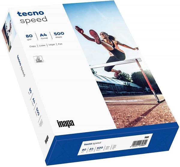 Inapa Drucker-/Kopierpapier tecno Speed: 80 g/qm², A4, weiß, 500 Blatt - schnell und staufrei drucke