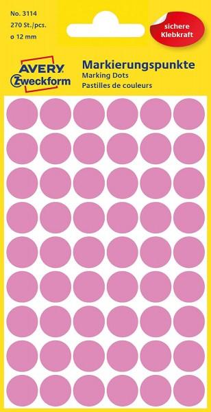 AVERY Zweckform 3114 Selbstklebende Markierungspunkte, Rosé (Ø 12 mm; 270 Klebepunkte auf 5 Bogen; R