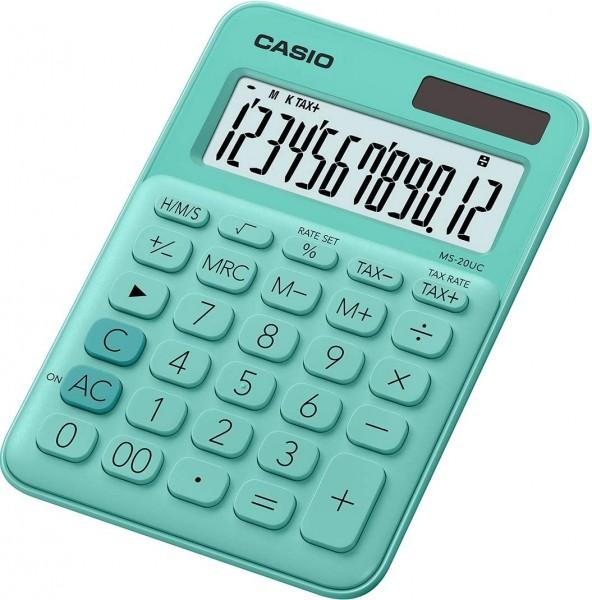 Casio MS-20UC-GN Tischrechner, 12-stellig, in zehn Farbvarianten