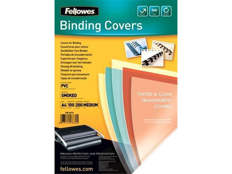 Fellows Transparente PVC Deckblätter A4 200 Mikron Rauchgrau