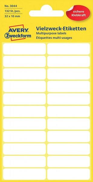 Avery Zweckform 3044 Haushaltsetiketten selbstklebend (32 x 10 mm, 132 Aufkleber auf 6 Bogen,Vielzwe