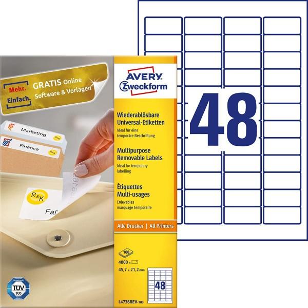 AVERY Zweckform L4736REV-100 Universal Etiketten (4.800 Klebeetiketten, 45,7x21,2mm auf A4, wieder r