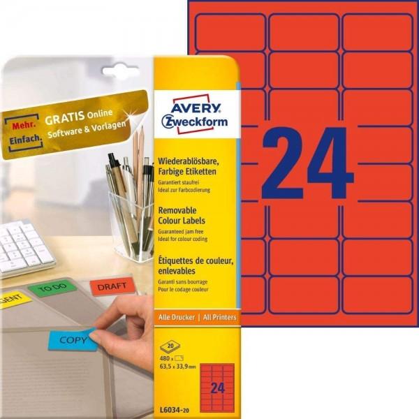 AVERY Zweckform L6034-20 Rote Etiketten (480 Aufkleber, 63,5x33,9mm auf A4, wieder rückstandsfrei ab