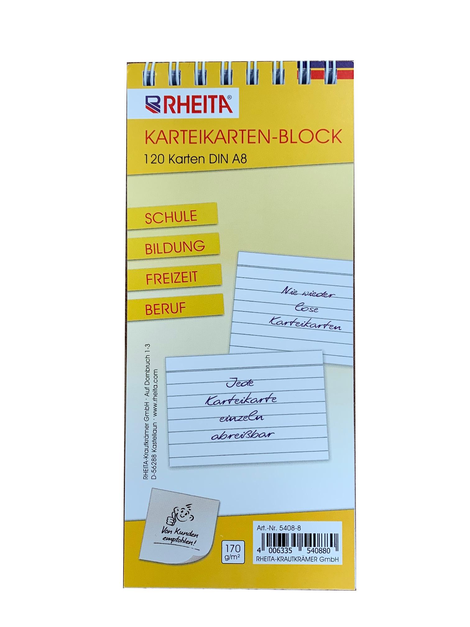 Vorschau: Karteikarten-Block liniert DIN A8 mit 120 Karten 170g/m² ideal für Schule Bildung Freizeit u. Beruf