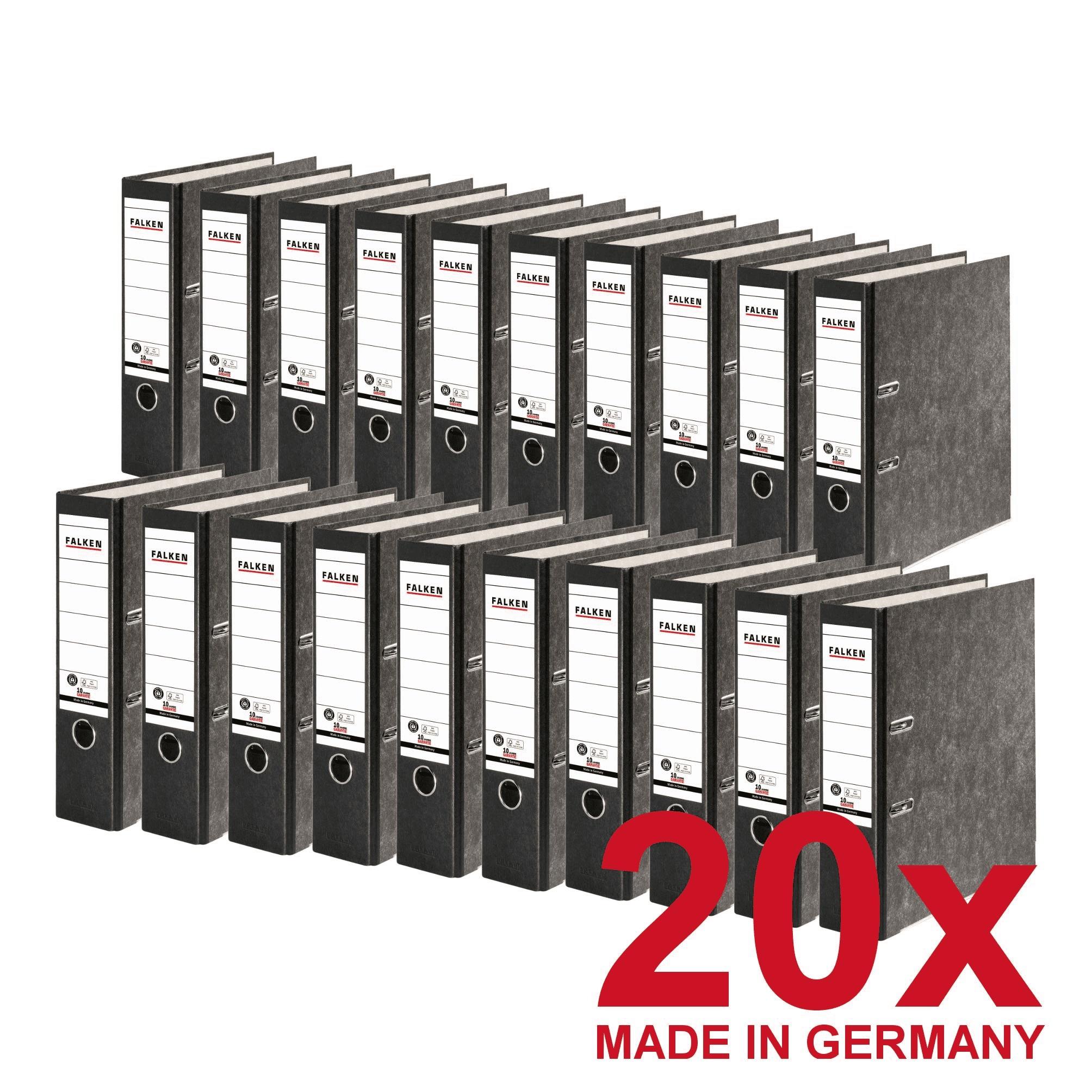 20x FALKEN Recycling Ordner DIN-A4, 8cm Wolkenmarmor schwarzer Rücken Ringordner Aktenordner Briefor