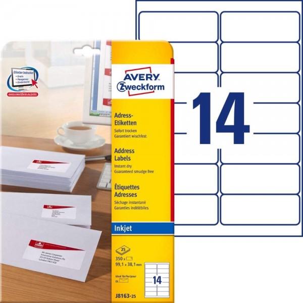 AVERY Zweckform J8163-25 Adressetiketten/Adressaufkleber (350 Etiketten, 99,1x38,1mm auf A4, bedruck