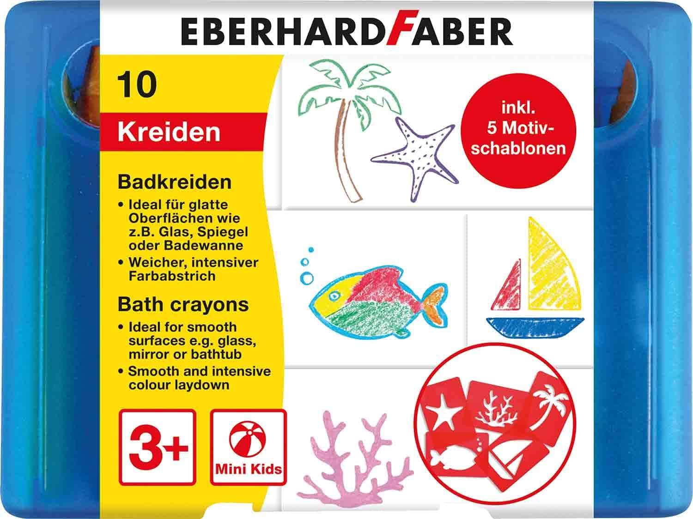 Eberhard Faber 524110 - Badkreide für Kinder zum Malen und Zeichnen auf Fliesen und Spiegeln, Etui m