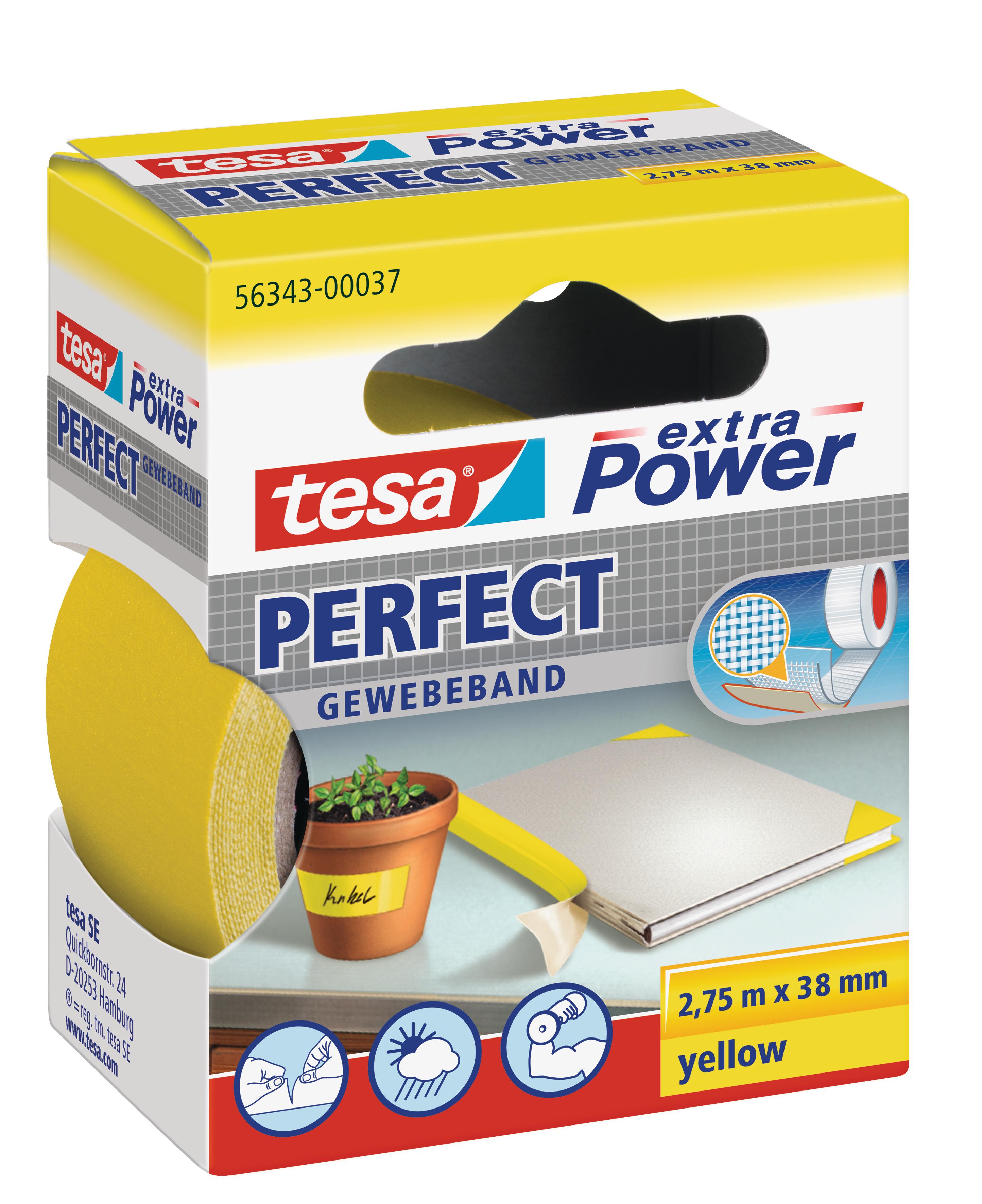 Vorschau: GP: 1,45 EUR/m tesa extra Power Perfect Gewebeband gelb 2,75m x 38mm